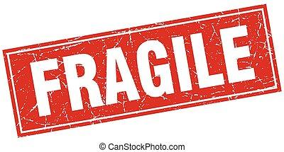 carrée, grunge, timbre, fragile, blanc rouge