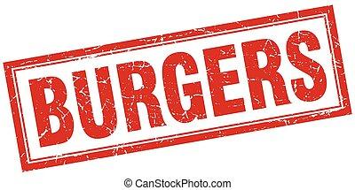 carrée, grunge, timbre, hamburgers, blanc rouge