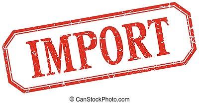 carrée, grunge, vendange, isolé, étiquette, importation, rouges