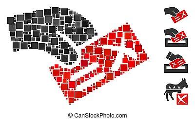 carrée, icône, négatif, vecteur, collage, vote