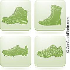 carrée, icônes, 2d, olivine, sport, set: