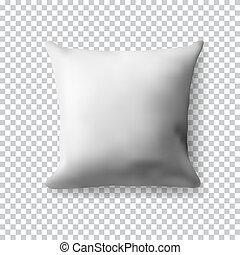 carrée, illustration., arrière-plan., oreiller, transparent, réaliste, vecteur, gabarit, vide, blanc, ton, design.