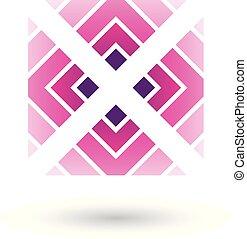 carrée, illustration, vecteur, lettre x, magenta, triangles, icône