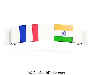 carrée, inde, deux, france, drapeaux, bannière