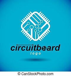 carrée, informatique, microprocesseur, logo., vecteur, conception, scheme., circuit, numérique, planche, puce, technologie, unité centrale traitement, element.