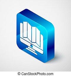 carrée, isométrique, emplacement, icône, vecteur, isolé, forêt, bleu, button., moniteur, gris, illustration, arrière-plan., carte