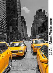 carrée, jaune, temps, lumière du jour, york, nouveau, taxi