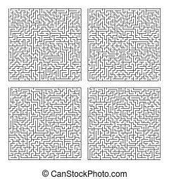 carrée, labyrinthe, modèle, puzzle, jeu, vecteur, labyrinthe, template.