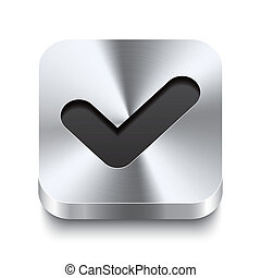 carrée, métal, bouton, -, perspektive, checkmark, icône