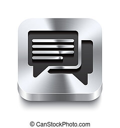 carrée, métal, bouton, perspektive, -, parole, bulles, icône