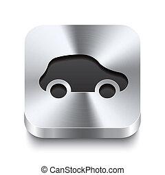 carrée, métal, bouton, -, voiture, perspektive, icône