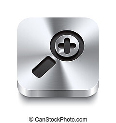 carrée, métal, bouton, -, zoom, perspektive, icône