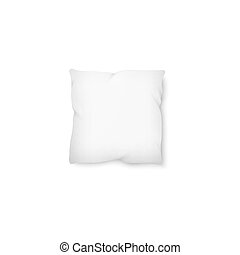 carrée, mockup, -, isolé, vide, blanc, oreiller