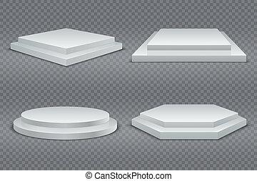 carrée, mockup, piédestaux, podiums., isolé, rond, plate-forme, podium, vecteur, plancher, 3d, salle exposition, steps., blanc, étape vide