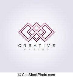 carrée, modèle, moderne, vecteur, conception, logo, ligne, icône