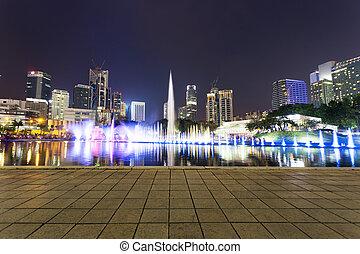 carrée, nuit, klcc, lumpur., musique, fontaine