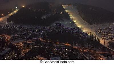 carrée, nuit, montagne, resort., populaire, cityscape, ...