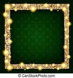 carrée, or, cadre, sombre, lumières, fond