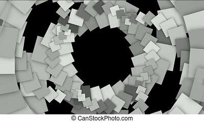 carrée, papier, trou, carte, tunnel, tourbillon