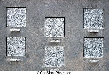 carrée, pierres tombales, vide