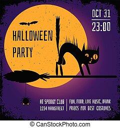 carrée, pourpre, affiche, balai, halloween, chat, arrière-plan., sorcière, fête, editable, conception, bannière, template., noir