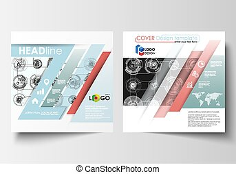 carrée, résumé, haute technologie, conception, flyer., arrière-plan., connecter, gabarits, plat, business, magazine, layout., couverture, brochure, system., science, prospectus, vecteur, technologie, concept., futuriste