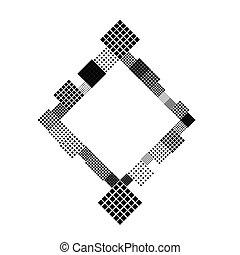 carrée, résumé, moderne, diagonal, fond, frontière, minimal