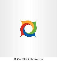 carrée, résumé, spirale, vecteur, logo, cercle