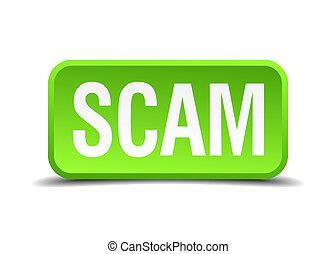 carrée, scam, bouton, isolé, réaliste, vert, 3d