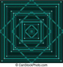 carrée, scintillement, modèle, fond, contour, vert, monochrome, forme