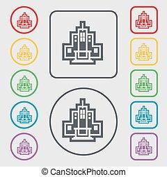 carrée, signe., frame., symbole, boutons, vecteur, gratte-ciel, rond, icône