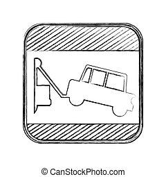 carrée, silhouette, remorquage, brouillé, signe camion, route