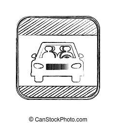 carrée, silhouette, voiture, brouillé, signe croisement, route