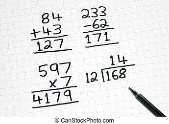 carrée, simple, paper., sommes, écriture, maths