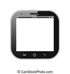 carrée, smartphone, isolé