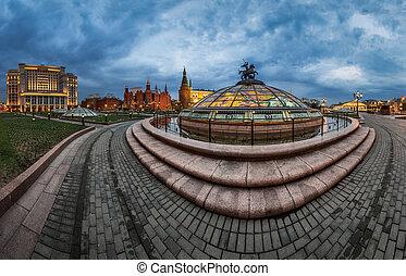 carrée, soir, panorama, moscou, kremlin, moscou, russie, manege