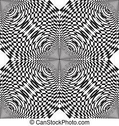 carrée, sugestion, coins, résumé, demicircles, élément, quatre, descendre, fond, psychédélique