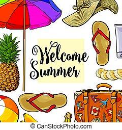 carrée, texte, vacances, endroit, été,  attributes, bannière