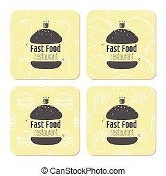 carrée, ton, restaurant, name., texte, nourriture, illustration, main, stylisé, hamburgers, coasters, endroit, jeûne, gabarit, table, dessiné, ou
