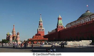 carrée, touristes, rouges
