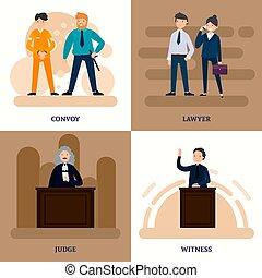 carrée, tribunal, composition, gens