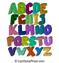 carrée, tridimensionnel, alphabet, isolé, fond, multi-coloré, blanc