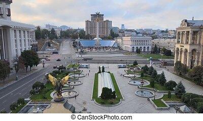 carrée, ukraine., aérien, indépendance, morning., kyiv, vue