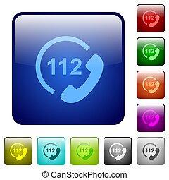 carrée, urgence, couleur, boutons, appeler, 112