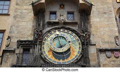 carrée, vieux, centre, horloge, tchèque, astronomique, ...