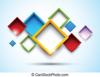 carrés, coloré, fond