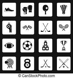 carrés, ensemble, équipement, sport, icônes