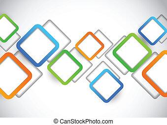 carrés, fond, coloré