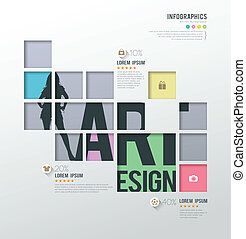 carrés, gabarit, infographics