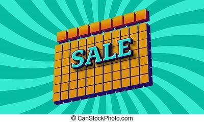carrés, graphique, vente